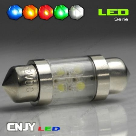 1 AMPOULE TYPE NAVETTE C5W 12V A 4 LED RONDE 31MM