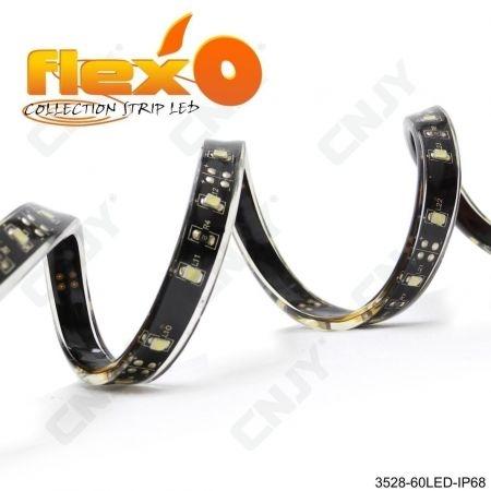 Bande led flexible IP68 Orange 60led/M 3528 SMD Adhésive à fond noir 12V