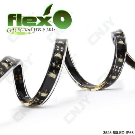 Bande led flexible IP68 Vert 60led/M 3528 SMD Adhésive à fond noir 12V