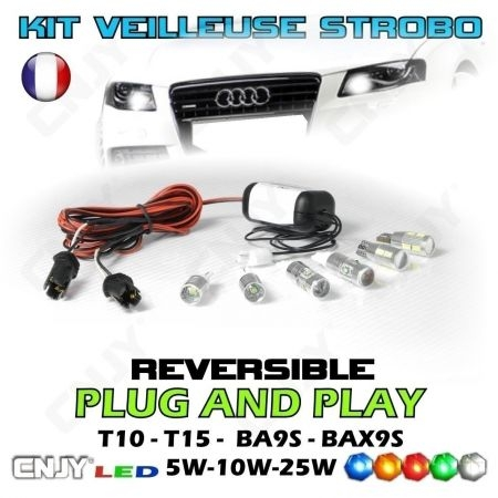 KIT MODULE 2 AMPOULES VEILLEUSE STROBOSCOPIQUE STROBO/FIXE PACE CAR FEUX DE PENETRATION