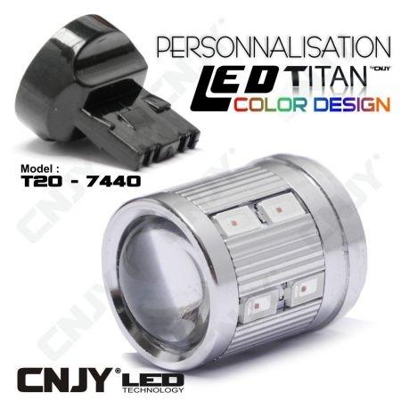 1 AMPOULE TITAN PERSONNALISATION T20-7440-W21W BASE COURTE 12 LED 5630 + 2 CREE LED 10W DANS LA LENTILLE