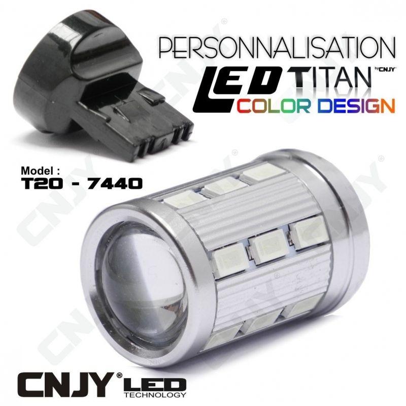1 AMPOULE TITAN PERSONNALISATION T20-7440-W21W BASE 18 LED 5630 + 2 CREE LED 10W DANS LA LENTILLE
