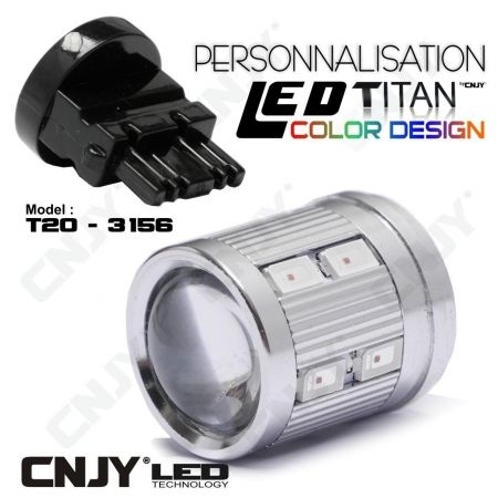 1 AMPOULE TITAN PERSONNALISATION T25-3156-W27W BASE COURTE 12 LED 5630 + 2 CREE LED 10W DANS LA LENTILLE