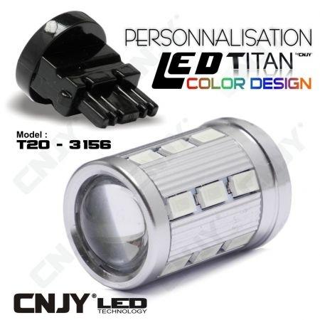 1 AMPOULE TITAN PERSONNALISATION T25-3156-W27W BASE 18 LED 5630 + 2 CREE LED 10W DANS LA LENTILLE