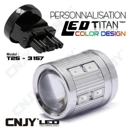 1 AMPOULE TITAN PERSONNALISATION T25-3157-W27/7W P27/7W BASE COURTE 12 LED 5630+2 CREE LED 10W DANS LA LENTILLE