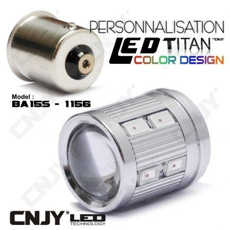 1 AMPOULE TITAN PERSONNALISATION S25 BA15S P21W R5W R10W 1156 BASE 12LED 5630+ LENTILLE CREE LED 10W