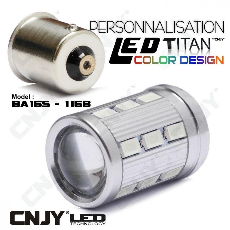1 AMPOULE TITAN PERSONNALISATION S25 BA15S P21W R5W R10W 1156 BASE 18LED 5630+ LENTILLE CREE LED 10W
