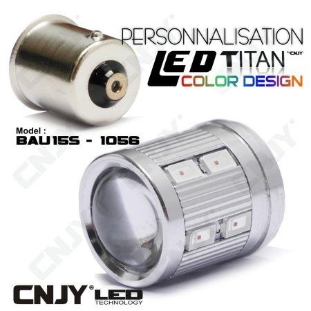 1 AMPOULE TITAN PERSONNALISATION S25 BAU15S PY21W RY5W RY10W 1056 BASE 12LED 5630+ LENTILLE CREE LED 10W
