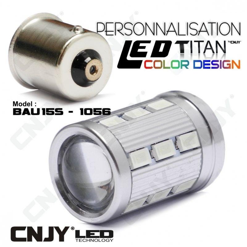 1 AMPOULE TITAN PERSONNALISATION S25 BAU15S PY21W RY5W RY10W 1056 BASE 18LED 5630+ LENTILLE CREE LED 10W