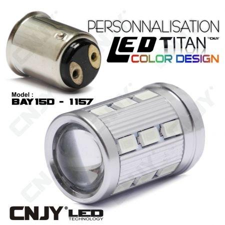1 AMPOULE TITAN PERSONNALISATION S25 BAY15D P21/5W 1157 BASE 18LED 5630+ LENTILLE CREE LED 10W