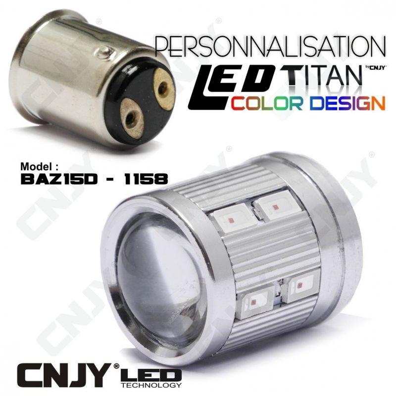 1 AMPOULE TITAN PERSONNALISATION S25 BAZ15D P21/4W 1158 BASE 12LED 5630+ LENTILLE CREE LED 10W