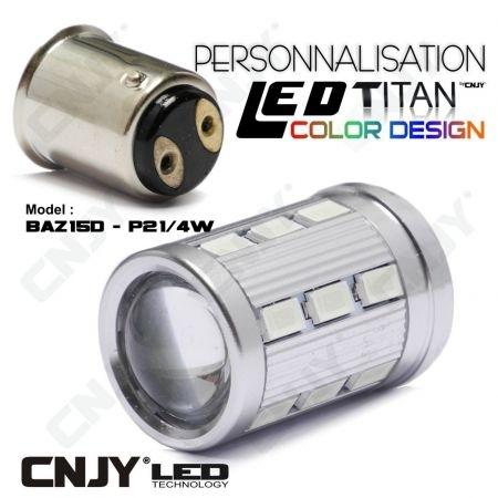 1 AMPOULE TITAN PERSONNALISATION S25 BAZ15D P21/4W 1158 BASE 18LED 5630+ LENTILLE CREE LED 10W