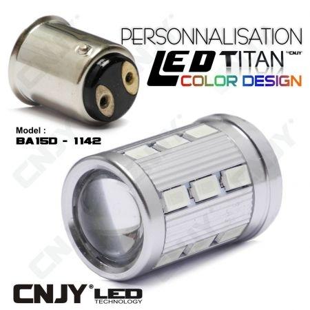 1 AMPOULE TITAN PERSONNALISATION S25 BA15D 21W 1142 BASE 18LED 5630+ LENTILLE CREE LED 10W