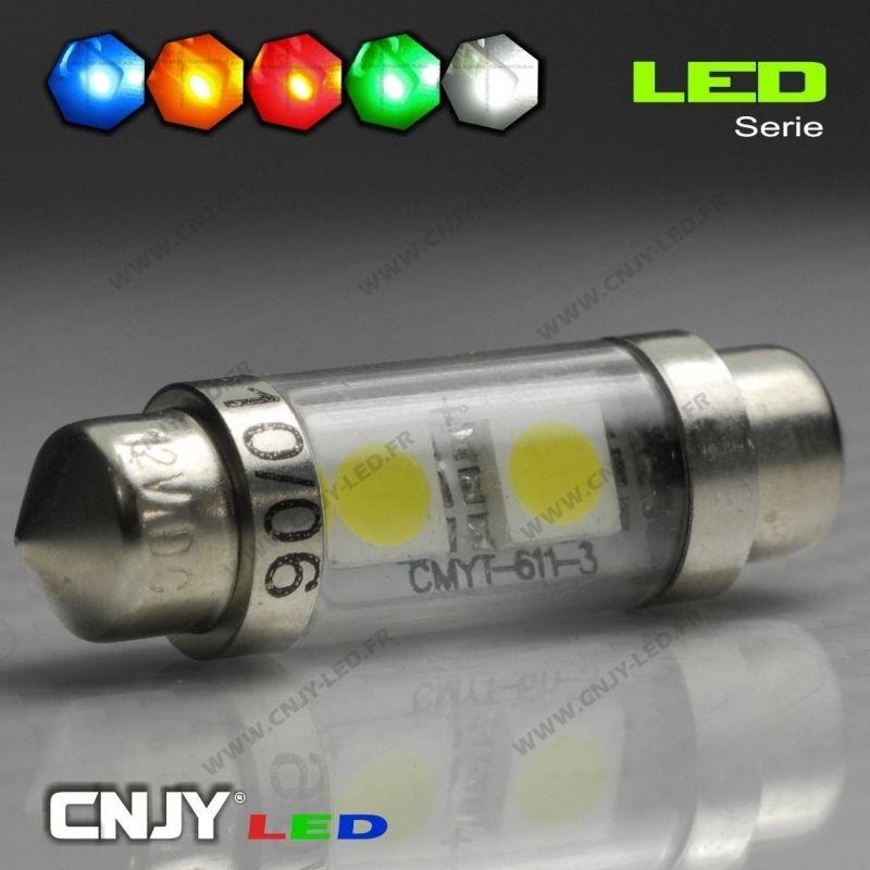 1 AMPOULE TYPE NAVETTE C5W 12V A 4 LED RONDE 36MM