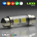 1 AMPOULE TYPE NAVETTE C5W 12V A 4 LED RONDE 36MM
