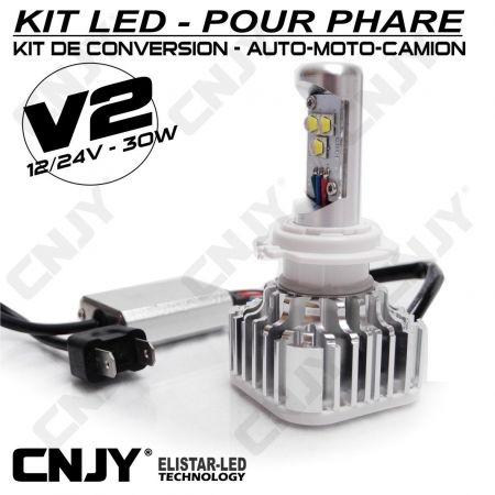 KIT DE CONVERSION ELISTAR V2 AMPOULE LED VENTILEE H7-PX26D 30W-12V/24V -2800LM POUR FEUX DE CROISEMENT PHARE AUTO MOTO CAMION