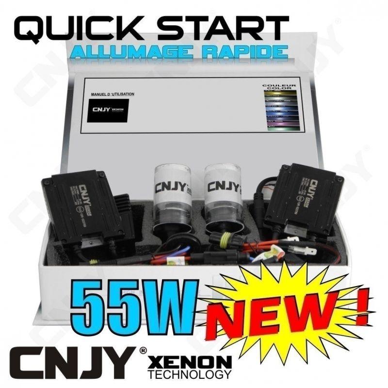 KIT XENON QUICK START H7 PX26D HID 55W ALLUMAGE INSTANTANE BALLAST SLIM CNJY + MODULE CANBUS 4 ANTI ERREUR ODB