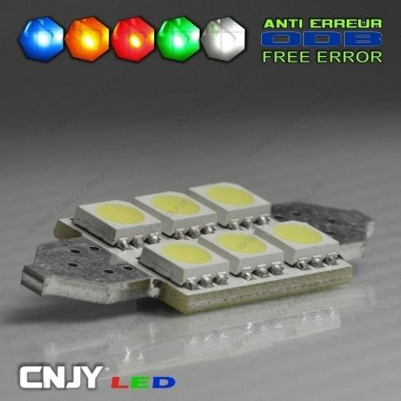 1 AMPOULE TYPE NAVETTE BI-POLAIRE C5W 12V A 6 LED SMD 36MM