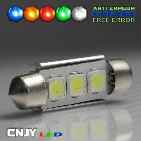 1 AMPOULE TYPE NAVETTE ANTI ERREUR C5W 12V A 3 LED SMD 36MM