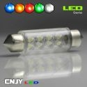 1 AMPOULE TYPE NAVETTE C5W 12V A 6 LED RONDE 42MM
