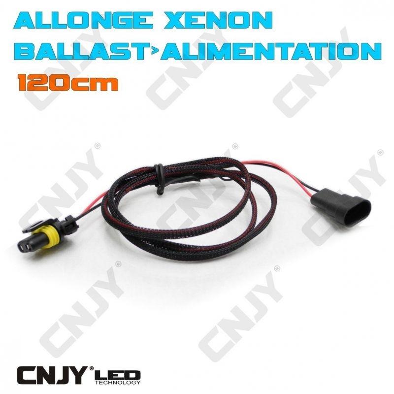 ALLONGE POUR MONTAGE DE KIT DE CONVERSION XENON HID RALLONGE ALIMENTATION BALLAST 120CM