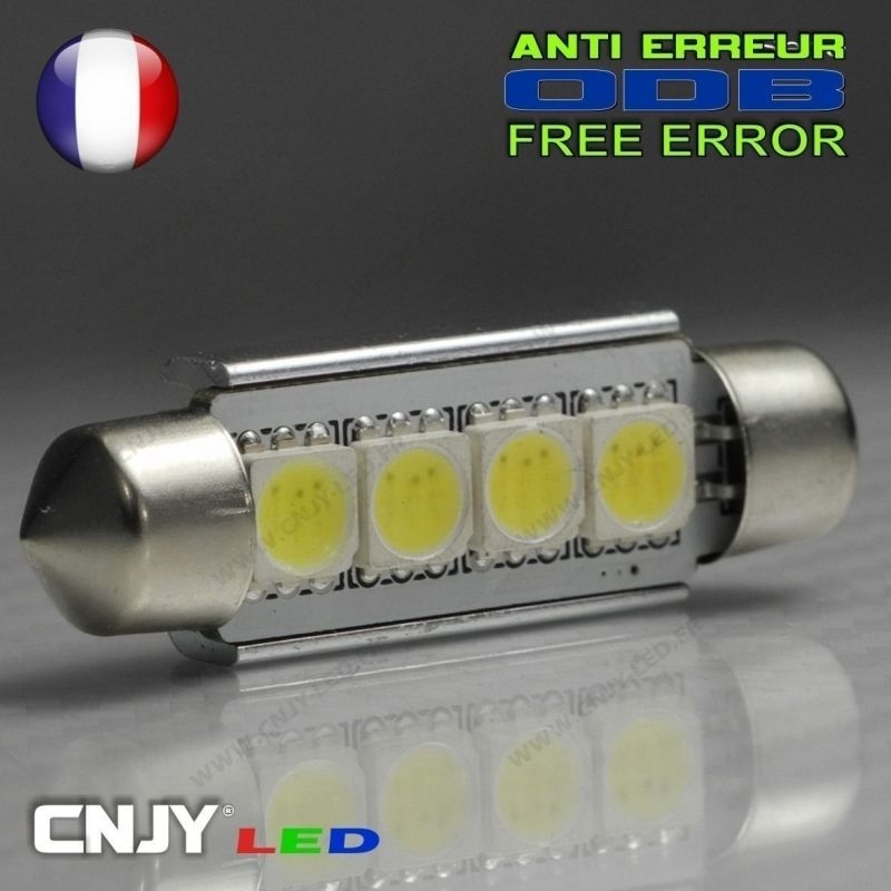 1 AMPOULE TYPE NAVETTE ANTI ERREUR C5W 12V A 4 LED NIKKON 42MM