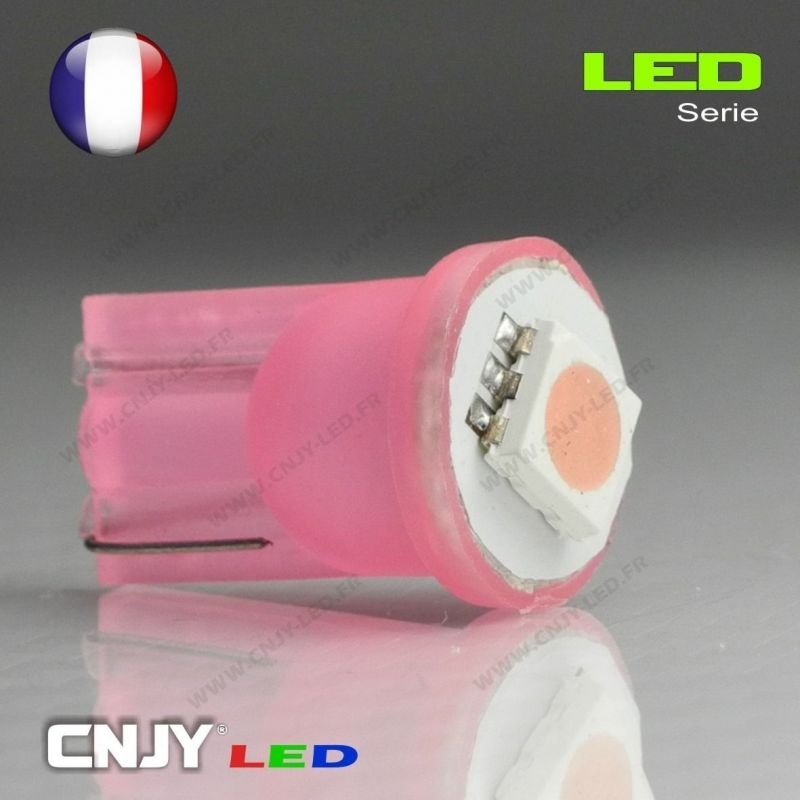 1 AMPOULE LED SMD AUTO T10 W5W W2.1x9.5D BULB WEDGE PINK ROSE LOW PURPLE 12V