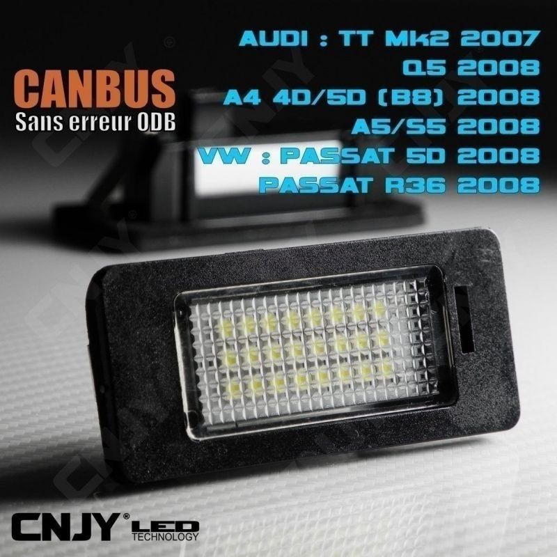 KIT ECLAIRAGE DE PLAQUE A 24 LED SMD (2 FEUX ) POUR AUDI TT MK2 2007 - CANBUS ANTI ERREUR ODB.