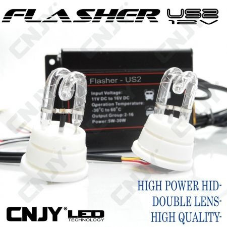 FLASHER US2-12V/24V BLANC FLASHING CAR AMERICAIN POUR OPTIQUE DE PHARE - PACE CAR HID DOUBLE -