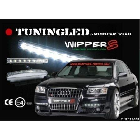 KIT DE 2 FEUX DE JOUR AUTO CNJY WIPPER'S AMPOULE LED DIURNE HP-12V BLANC MONTAGE UNIVERSEL EN CALANDRE STYLE AUDI A3 A4-A5 A6