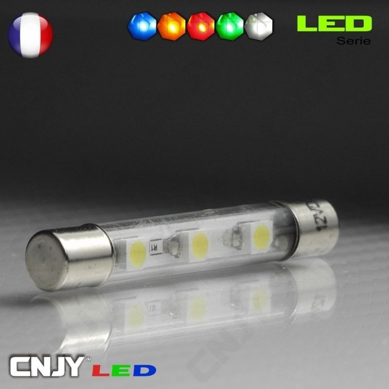 1 AMPOULE TUBE TYPE NAVETTE C5W 12V A 3 LED SMD 39MM
