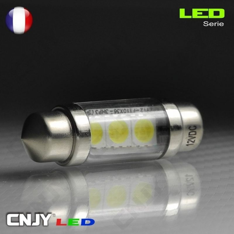 1 AMPOULE TYPE NAVETTE C5W 12V A 3 LED SMD 36MM