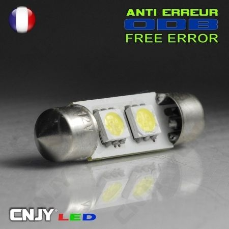 1 AMPOULE ANTI ERREUR TYPE NAVETTE C5W 12V A 2 LED SMD 36MM