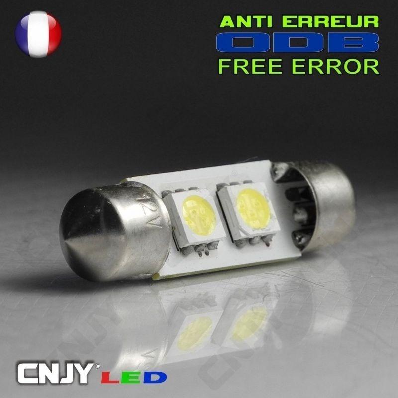 1 AMPOULE TYPE NAVETTE C5W 12V A 3 LED SMD 36MM