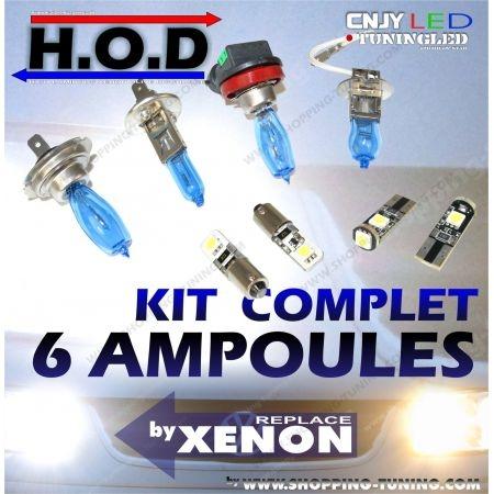 KIT 6 AMPOULES HOD 6000K - FEUX DE CROISEMENT / ROUTE / VEILLEUSE LED POUR BMW E30 SERIE 3 (SANS XENON)