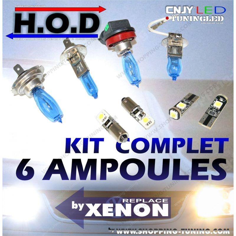KIT 6 AMPOULES HOD - FEUX DE CROISEMENT / ROUTE / VEILLEUSE LED POUR BMW E30 SERIE 3 (SANS XENON)