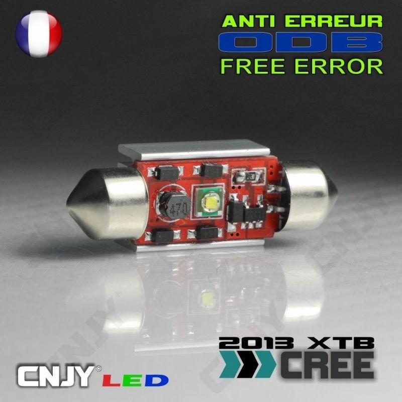 1 AMPOULE ANTI ERREUR TYPE NAVETTE C5W 12V A 1 LED CREE 36MM
