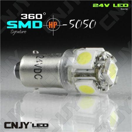 1 AMPOULE LED CAMION BA9S T4W 24V DC POLARISEE 5 LED SMD BLANC 6000K