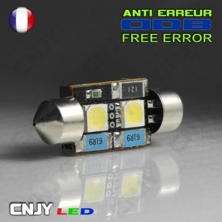 1 AMPOULE ANTI ERREUR TYPE NAVETTE C5W 12V A 2 LED CANBUS 36MM