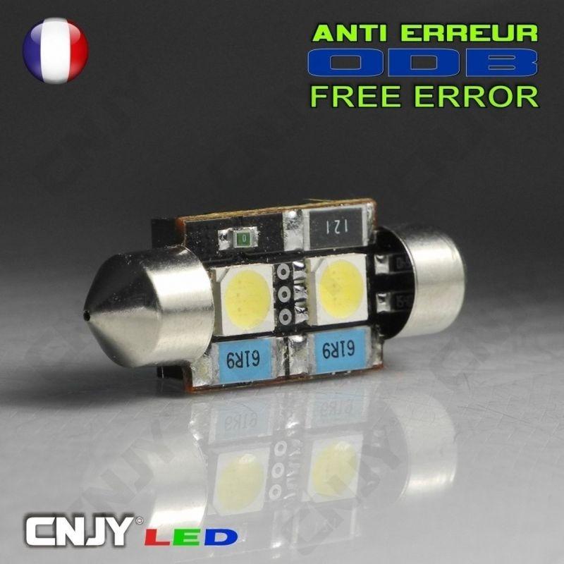 1 AMPOULE ANTI ERREUR TYPE NAVETTE C5W 12V A 1 LED CREE 36MM