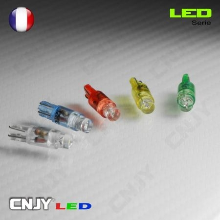 1 AMPOULE LED T5 - 1 LED RONDE WEDGE W1.2W - BLANC/BLEU/ROUGE/VERT/ORANGE 12V DC