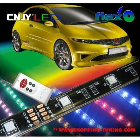 KIT LED BAS DE CAISSE MULTICOULEUR RGB/BLEU/ROUGE/VERT/BLANC/VIOLET BANDE SOUPLE POUR KIT EXTERIEUR TUNING 12V