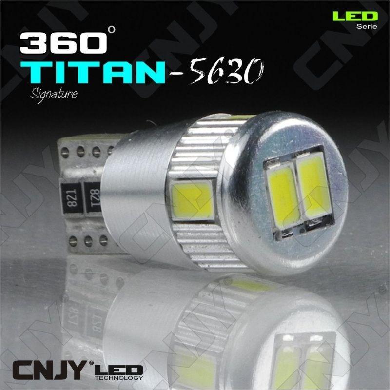 1 AMPOULE LED AUTO MOTO T10 W5W TITAN W2.1x9.5D 12V DC BIPOLAIRE 5630 BLANC 6000K - CANBUS ANTI ERREUR
