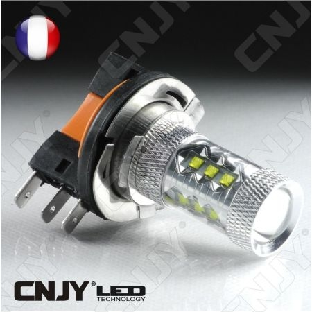 AMPOULE LED H15 CREE XPE 80W 55/15w DRL CANBUS CULOT PGJ23T-1 6000K LENTICULAIRE 12V AUTO MOTO