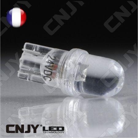 AMPOULE 1 LED BLANC CONVEXE T10 W5W 24V DC -CULOT W2.1x9.5D POUR VEILLEUSE, FEUX DE PLAQUE, GABARIT CAMION