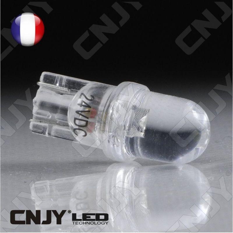 AMPOULE 1 LED CONVEXE T10 W5W 24V DC -CULOT W2.1x9.5D POUR VEILLEUSE, FEUX DE PLAQUE, GABARIT CAMION