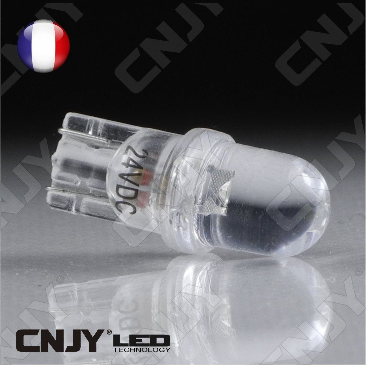 ampoule 1 led blanc convexe t10 w5w 24v dc culot. Black Bedroom Furniture Sets. Home Design Ideas
