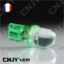 AMPOULE 1 LED VERT CONVEXE T10 W5W 24V DC -CULOT W2.1x9.5D POUR VEILLEUSE, FEUX DE PLAQUE, GABARIT CAMION