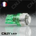 AMPOULE 5 LED SMD VERT T10 W5W 24V DC -CULOT W2.1x9.5D POUR VEILLEUSE, FEUX DE PLAQUE, GABARIT CAMION