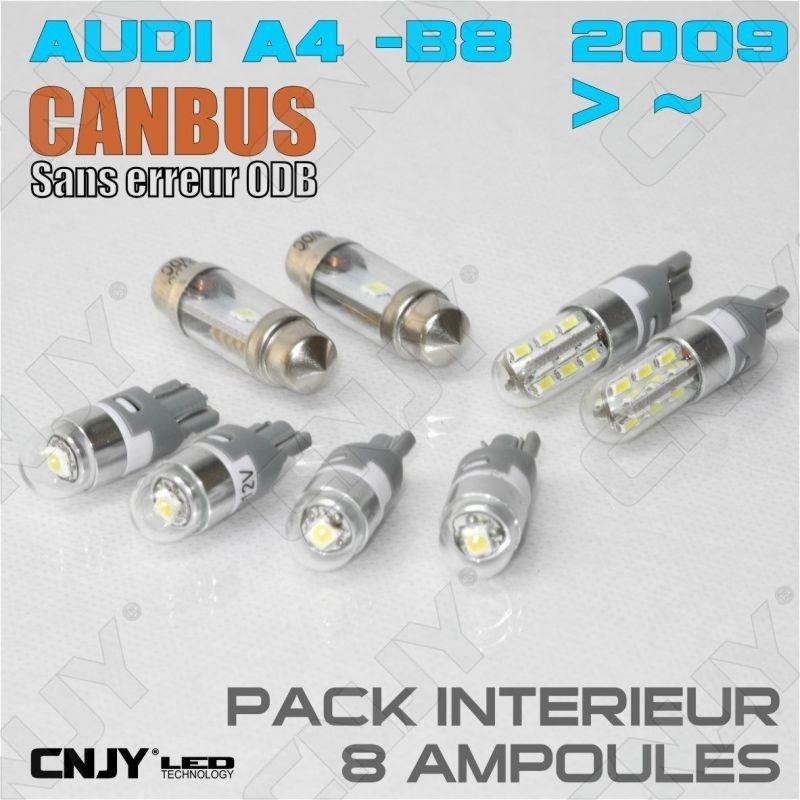 KIT ECLAIRAGE 8 AMPOULE LED INTERIEUR POUR AUDI A4-B8 SANS ERREUR ODB ANTI SCINTILLEMENT CREE LED BLANC XENON 6000K